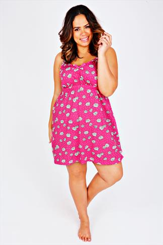 Pink & White Daisy Print Chemise