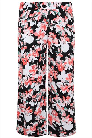 Coral & Black Floral Print Textured Wide Leg Trousers