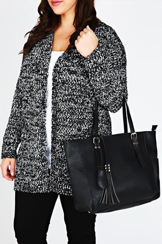 Black Oversized Tote Bag With Gold Stud & Tassel Detail