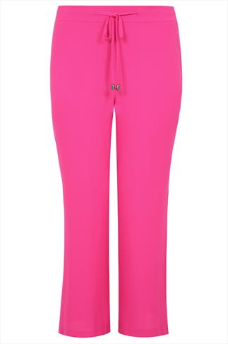 Magenta Crepe Palazzo Trousers With Drawstring Detail