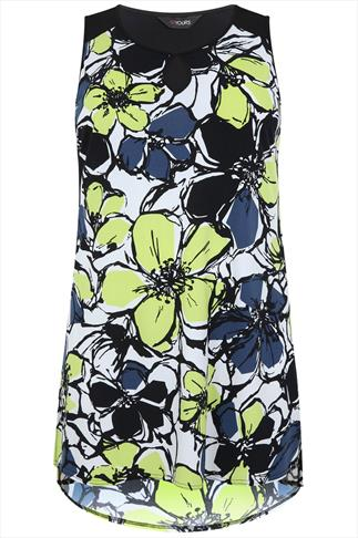 Lime Abstract Floral Print Sleeveless Longline Top With Side Slits