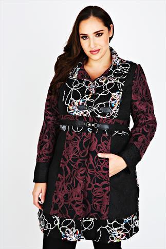 Multi Stitch Panel Coat With Collar