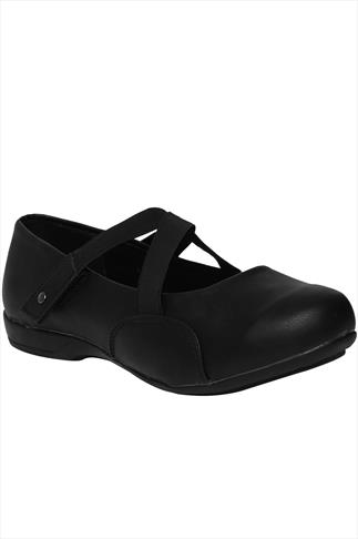 Black Crossover Elasticated Shoe  With Adjustable Straps In EEE Fit