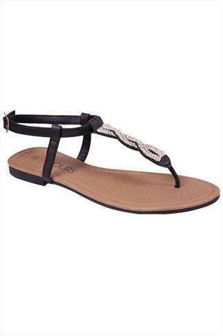 Black Jewel Trim Wide Fit Sandal
