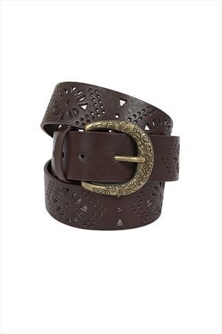 Brown Floral Cut Out Jean Belt