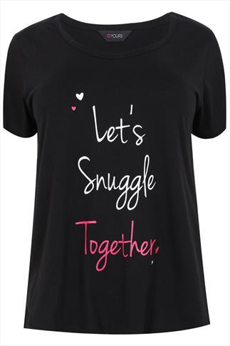 """Black """"Let's Snuggle Together"""" Pyjama Top"""