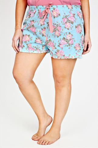 Blue And Pink Vintage Floral Print Cotton Pyjama Shorts