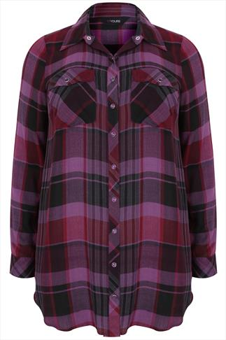 Purple Checked Boyfriend Shirt With Pockets