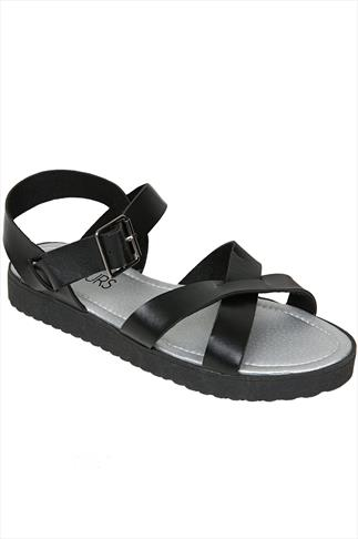 Black Crossover Flat Sandals With Chunky Sole In EEE Fit