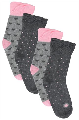 Pink & Grey 2 Pair Pack Mouse Print Socks In Extra Wide Fit