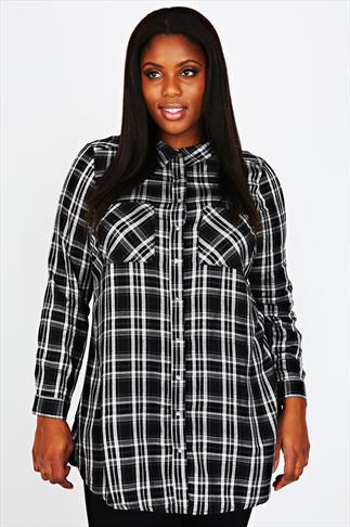 Black & White Checked Popper Button Boyfriend Shirt With Pockets