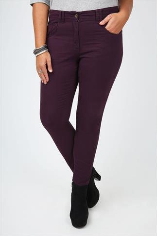 Aubergine Coloured Twill Straight Leg Jean