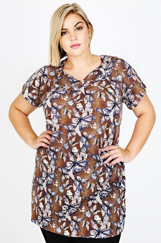 Brown Embellished Butterfly Print Longline Top