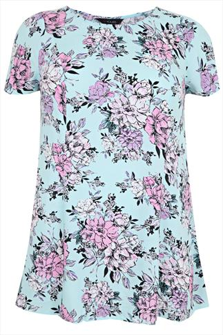 Mint & Pink Floral Print Longline Swing Top With Pleat Back Detail