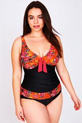 Black & Orange Floral Print A Line Tankini Top