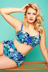 Blue Multi Tropical Hawaiian Print Underwired Bikini Top *Cup Sizes D-G*