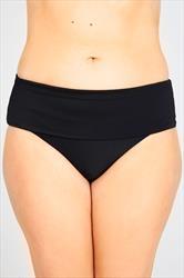 Black Fold Over Waist Bikini Brief