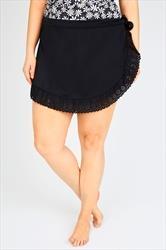 Black Swimskirt With Lazer Cut Out Frill Hem Detail