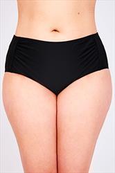 Black Ruched Side Waist Bikini Brief