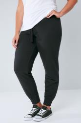 Black Basic Cotton Jersey Joggers