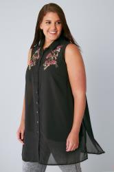 Black Chiffon Embroidered Longline Sleeveless Shirt With Side Splits