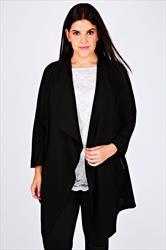 Black Crepe Longline Waterfall Jacket