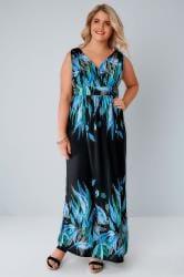Black & Green Feather Print Sleeveless Maxi Dress