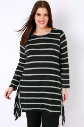 Black & Grey Stripe Knitted Top With Hanky Hem