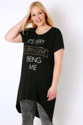 "Black ""It's Very Expensive"" Top With Extreme Dipped Hem"