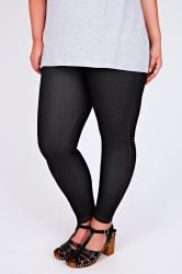 Black Jersey Jeggings With Gold Stitch Detailing
