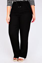 """Black Linen Mix Full Length Trousers With Four Pockets 30"""""""