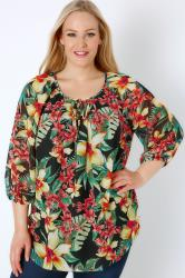 Black & Multi Bright Floral Print Chiffon Blouse