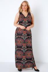 Black & Multi Circle Gypsy Print Jersey Maxi Dress With V-Neck