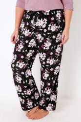 Black & Multi Floral Print Woven Pyjama Bottoms