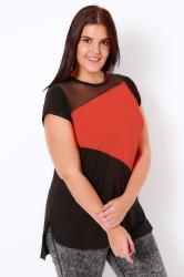 Black & Orange Colour Block Top With Mesh Panel & Dip Hem