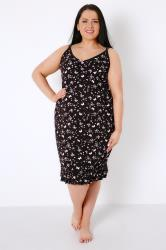 Black & Pink Butterfly Print Chemise With Ruffle Hem