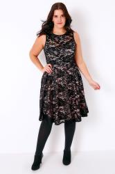 Black & Pink Lace Overlay Dress With Cut Out Sweetheart Neckline
