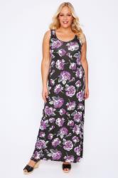 Black & Purple Floral Print Maxi Dress With Black Shrug