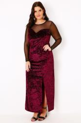 Black & Red Sparkle Velvet Maxi Dress With Mesh Sweetheart Neckline