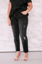 LIMITED COLLECTION Black Rip & Repair Boyfriend Jean With Sequin Detail