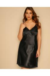 Black Satin Babydoll With Lace Trim