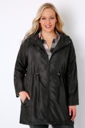 Black Shower Resistant Pocket Parka Jacket With Hood