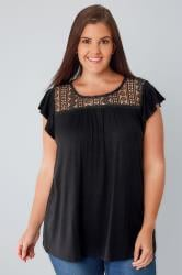 Black Soft Textured Jersey Top With Crochet Panel