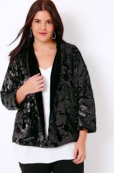 Black Velvet & Sequin Embellished Fully Lined Jacket