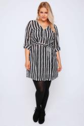 Black & White Brush Stripe Zip Front Dress With Waist Tie