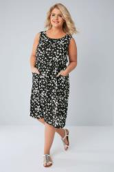 Black & White Butterfly Pocket Dress With Elasticated Waistband