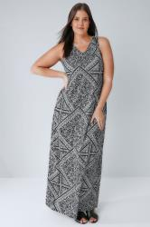 Black & White Mixed Floral Print Jersey Maxi Dress With V-Neck