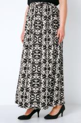 Black & White Tie Dye Print Jersey Maxi Skirt