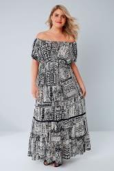 Black & White Tribal Print Gypsy Maxi Dress
