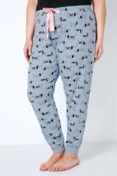 Blue & Pink Sausage Dog Print Pyjama Bottoms